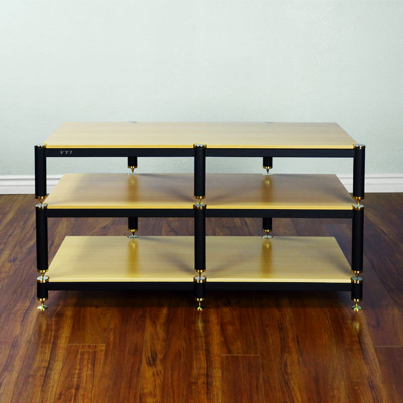 Vti Bl Series 44 In Av Rack Tv Stand Gold Caps Black Poles Oak Shelves Bl503go