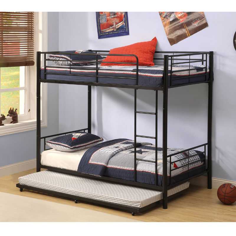 Walker Edison Twin Roll Out Trundle Bed Frame Black BT40TBBL