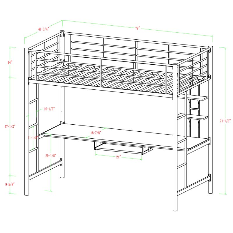 Walker Edison Metal Twin Loft Bed with Workstation Silver BTOZSL