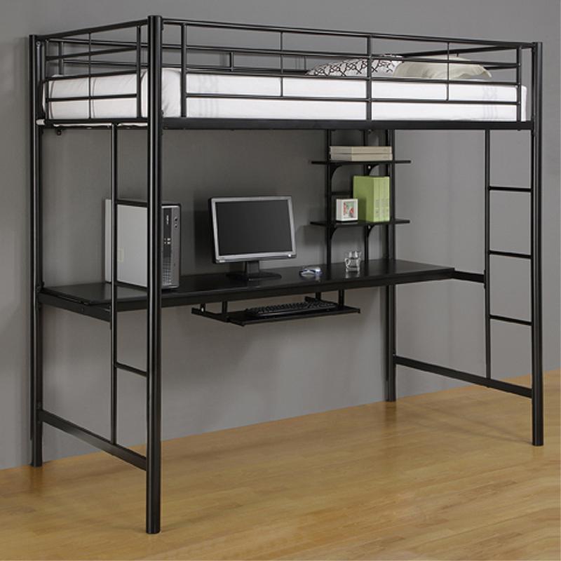 Walker Edison Metal Twin Loft Bed With Computer