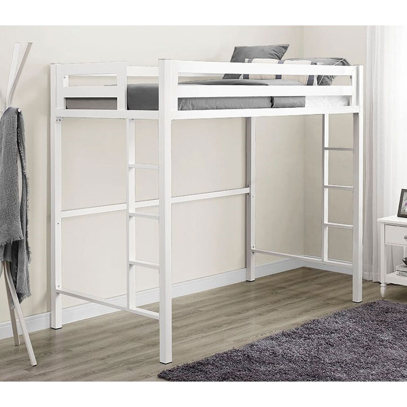 View A Large Image Of The Walker Edison BTSQTOLWH Bentley Twin Metal Loft  Bed In White