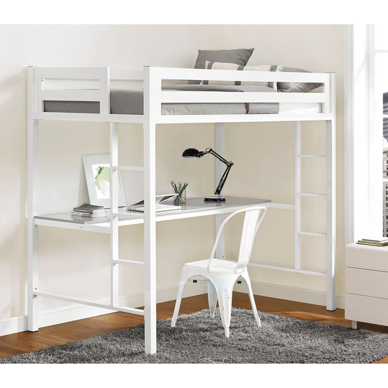 View A Larger Image Of The Walker Edison BTSQTOZWH Bentley Twin Metal Loft  Bed With Workstation