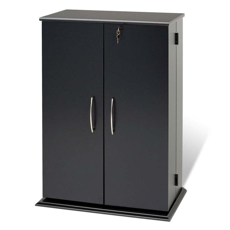 Prepac Small Deluxe Cd Dvd Vhs Cabinet Black Bvs 0136