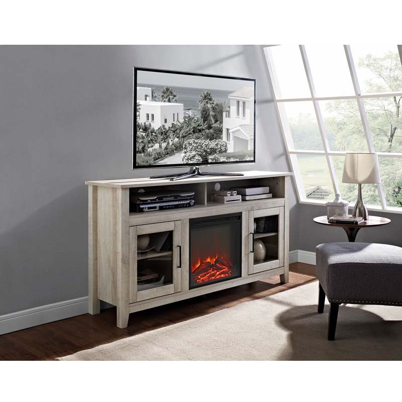 Walker Edison Highboy Fireplace Tv Stand For 60 Inch Screens White