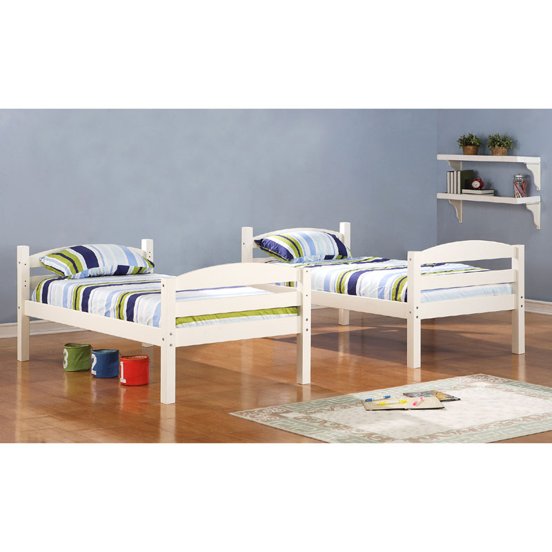 Walker Edison Solid Wood Twin Size Bunk Bed White Bwstotwh