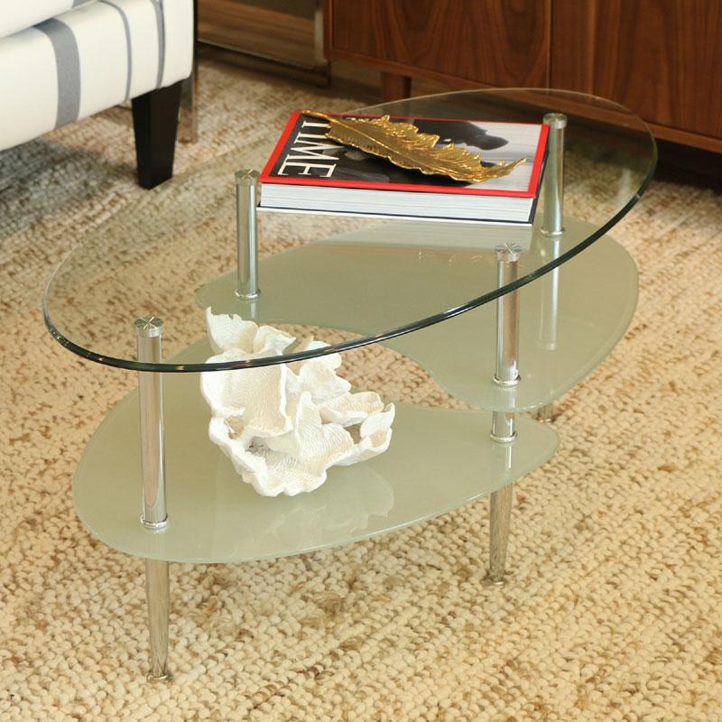 Walker Edison 38 Inch Wave Dual Oval Coffee Table C38b4