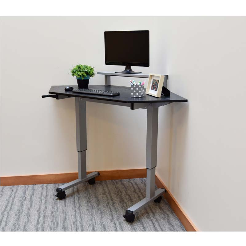 Luxor Adjustable Height Stand Up Corner Desk Silver And Black Standup Ccf60 B