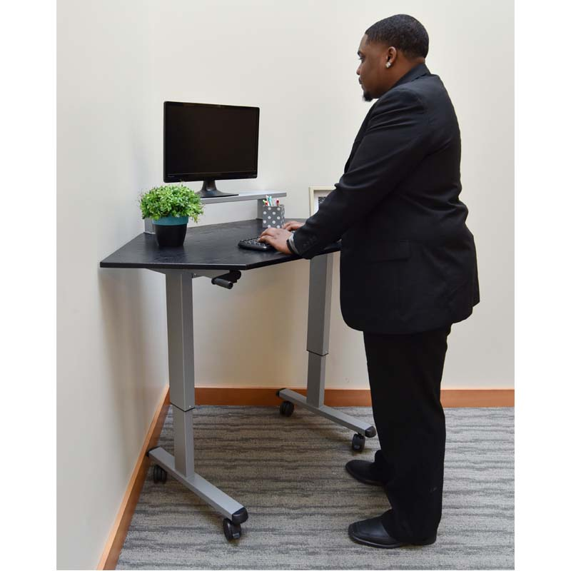 Adjustable Stand Up Desk >> Luxor Adjustable Height Stand Up Corner Desk Silver and Black STANDUP-CCF60-B
