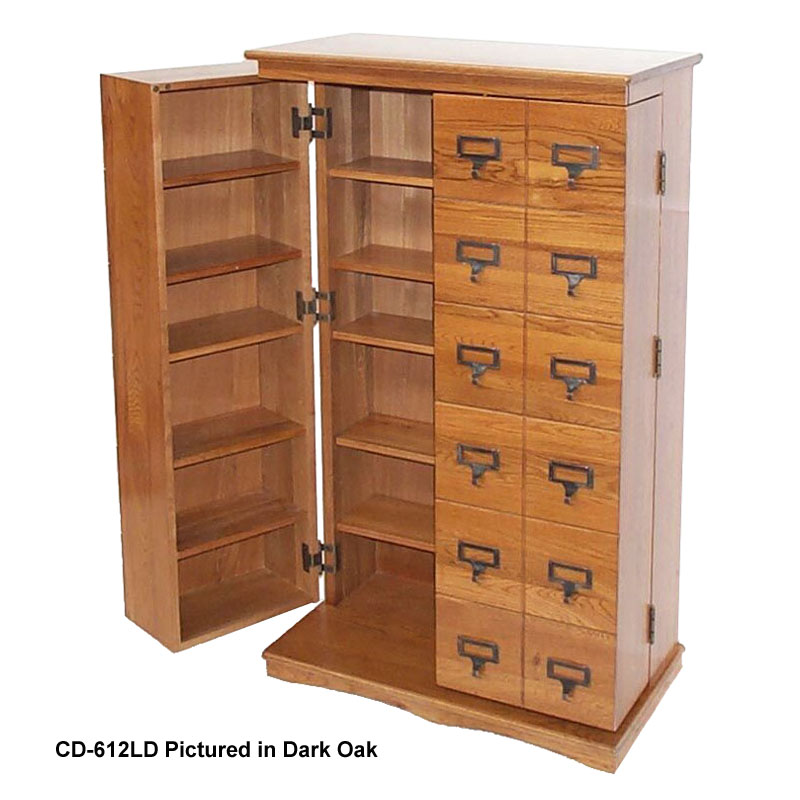 Superieur Leslie Dame Library Style Multimedia Storage Cabinet (Oak) CD 612L OAK
