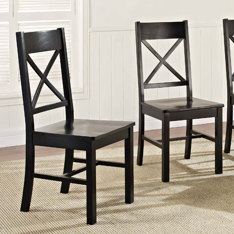 Solid Wood Dining Chairs: Walker Edison Millwright Set Of Two Solid Wood Dining