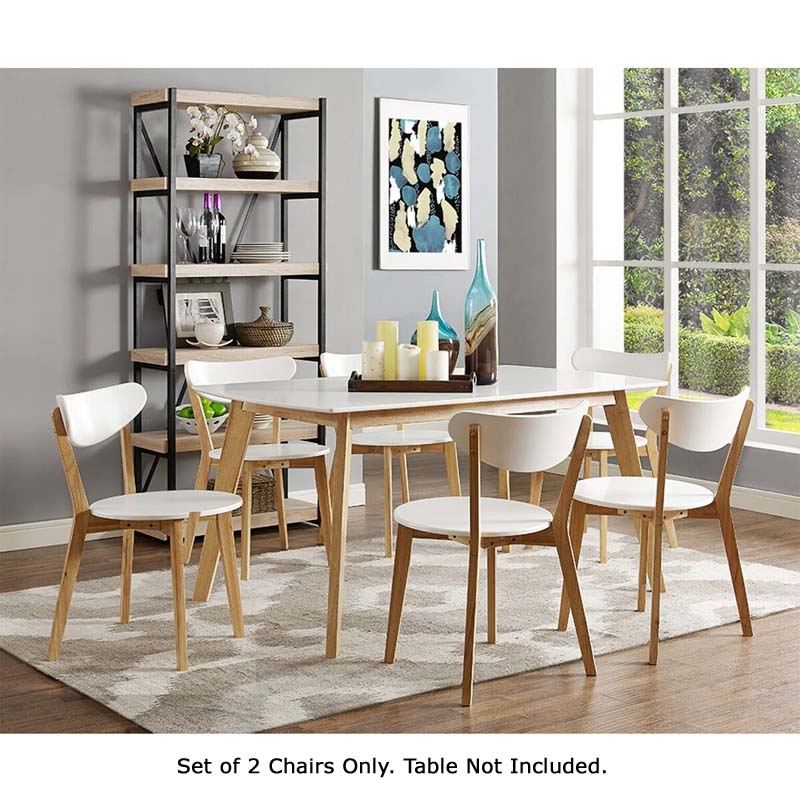 Astonishing Walker Edison Retro Modern Wood Dining Chairs White And Natural Brown Chwrm2Wnl Ibusinesslaw Wood Chair Design Ideas Ibusinesslaworg