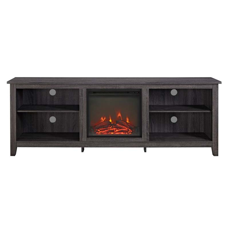 walker edison 70 inch tv stand with electric fireplace charcoal w70fp18cl. Black Bedroom Furniture Sets. Home Design Ideas