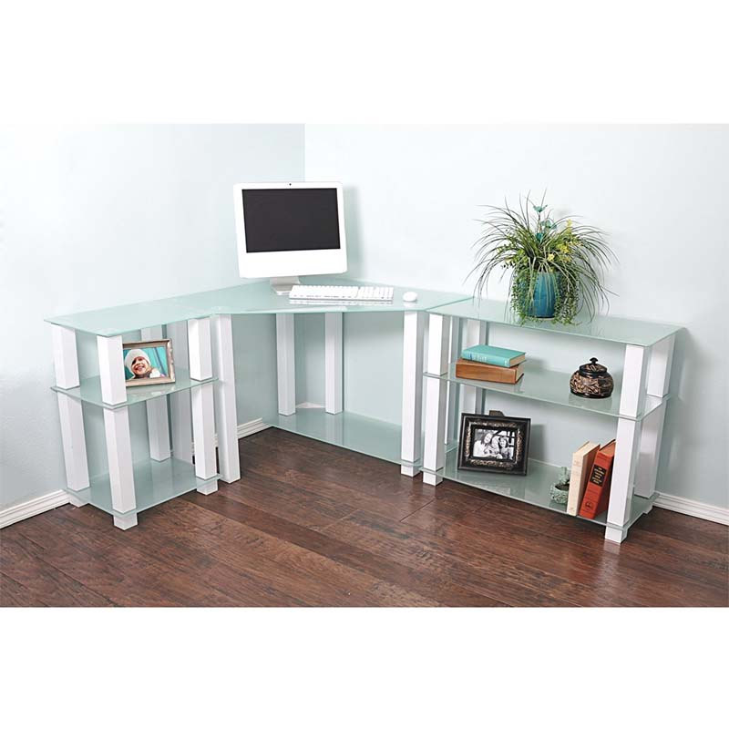 Rta Frosted Glass Corner Computer Desk With Left And Right Side Extension Tables White Ct 013125w