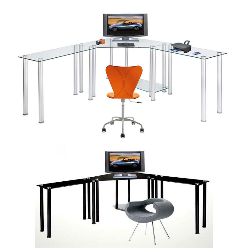 RTA Glass Corner Computer Desk with 2 Side Extension Tables (Clear or Black  Glass) CT-013LR