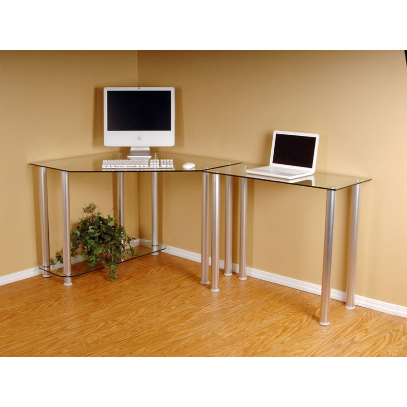 RTA Glass Corner Computer Desk with 1 Side Extension Table (Clear or Black  Glass) CT-013R