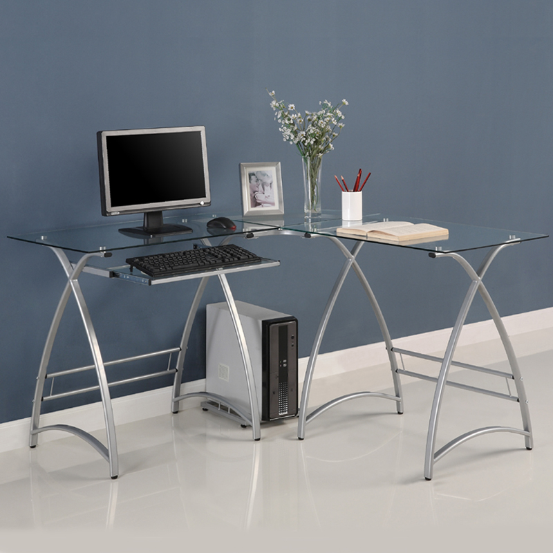 Walker Edison Alexa L Shaped Glass Computer Desk (Silver With Clear Glass)  D51AL30