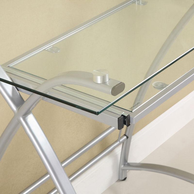 Walker Edison Alexa L Shaped Glass Computer Desk Silver With Clear D51al30