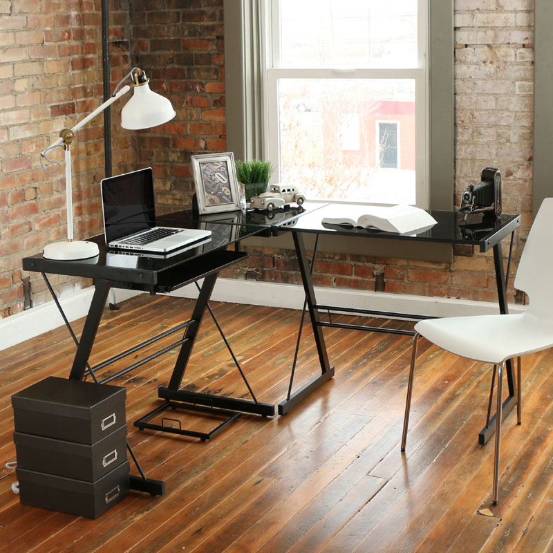 View A Larger Image Of The Walker Edison 3 Piece Soreno Desk (Black With  Black