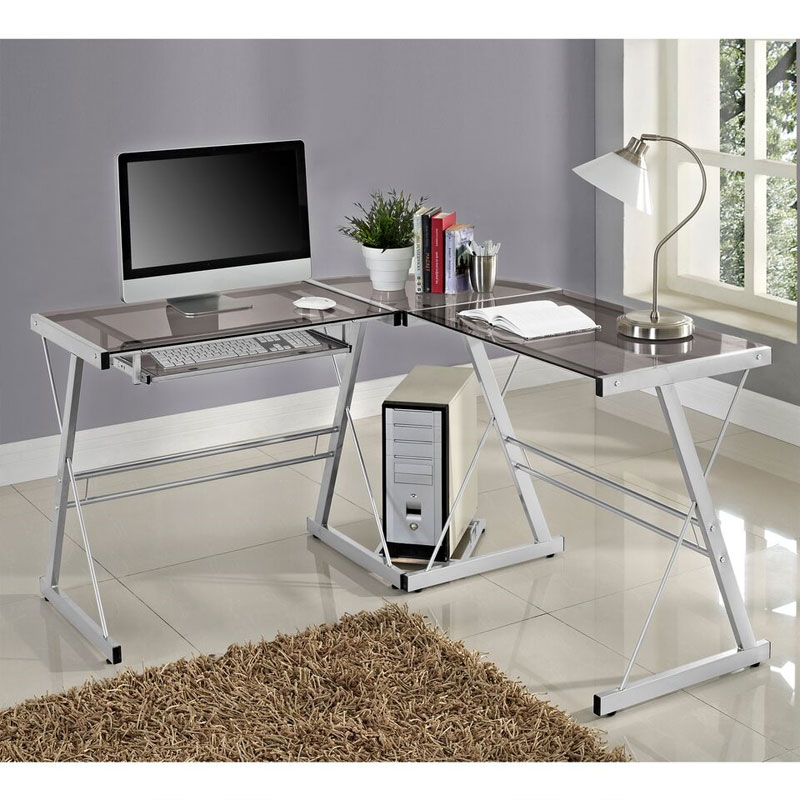 premium selection f7636 3c59b Walker Edison 3 Piece Contemporary Desk (Silver with Smoked Glass) D51L29SM