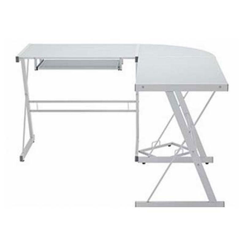 Walker Edison Soreno L Shaped Glass Computer Desk White With Frosted D51w29