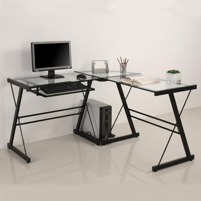 Walker Edison 3 Piece Imperial Desk Black With Clear Glass D51z29