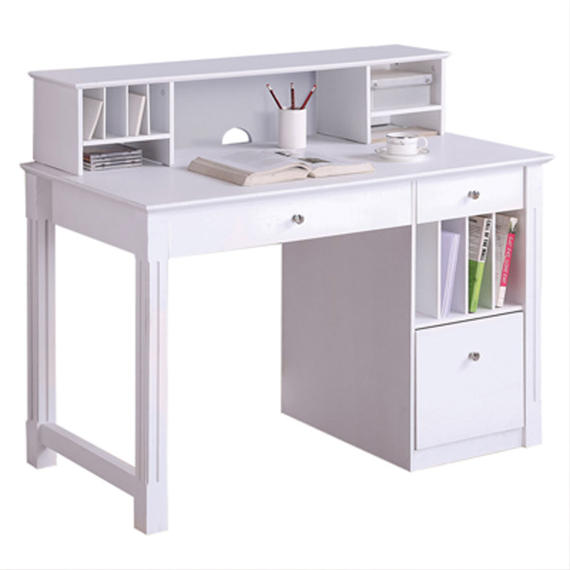 Walker Edison Deluxe Home Office Writing Desk with Storage and Hutch  (White) DW48D30-DHWH