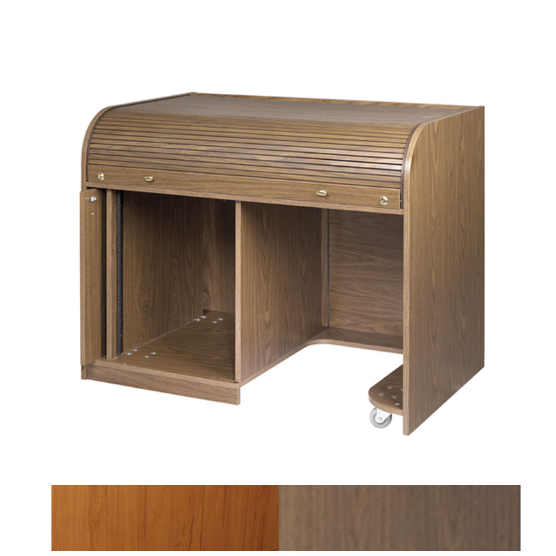 View A Larger Image Of The Chief Raxs Roll Top Desk With Seating Cutout Cherry