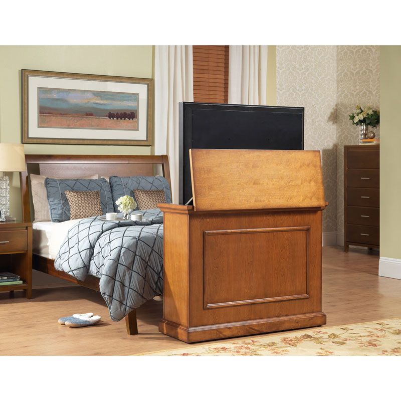 Bon Touchstone Elevate End Of Bed Or Anyroom Theater Lift Cabinet For 24 46  Inch Screens (Honey Oak) 72009