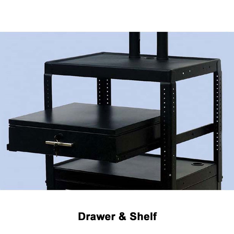 VTI Adjustable Height TV Cart With 37 Inch TV Mount And Cabinet And Drawer  FDCAB4226E