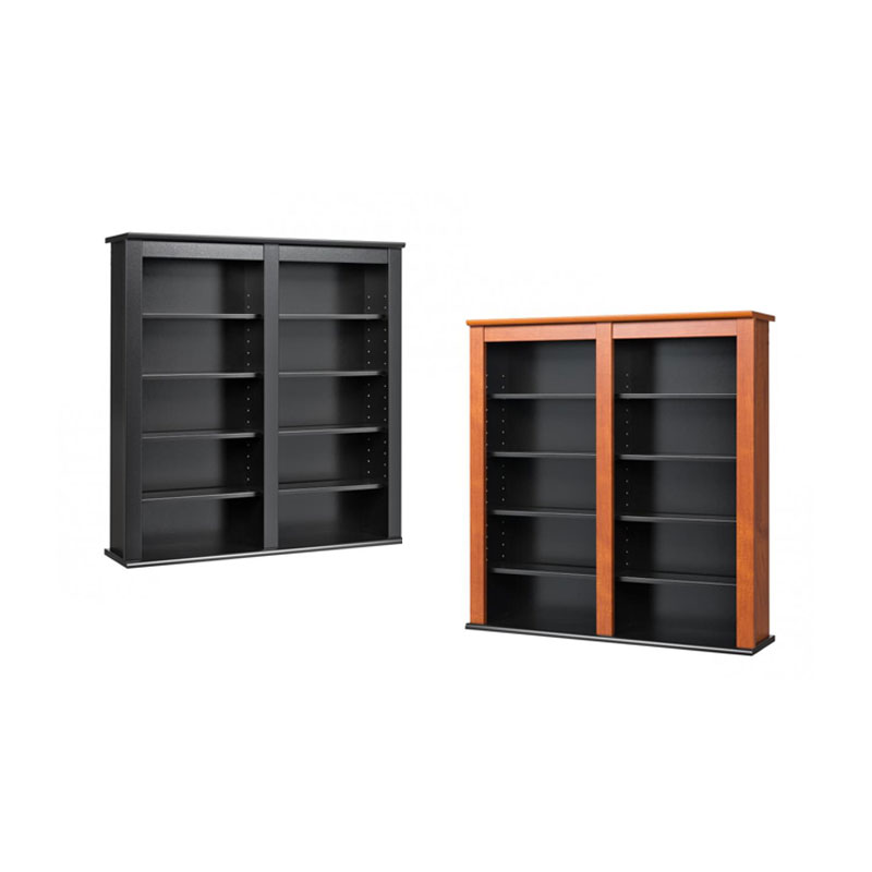 Cherry and Black Prepac Double Wall Mounted  Storage Cabinet