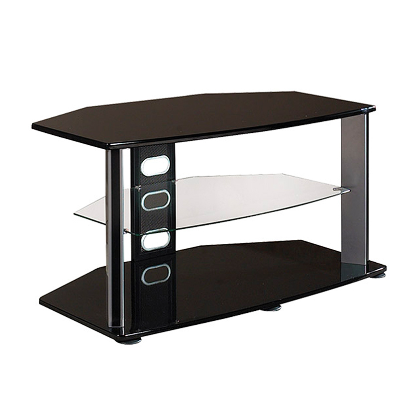 TV Stand With Glass Middle Shelf (Black) HPOBG144