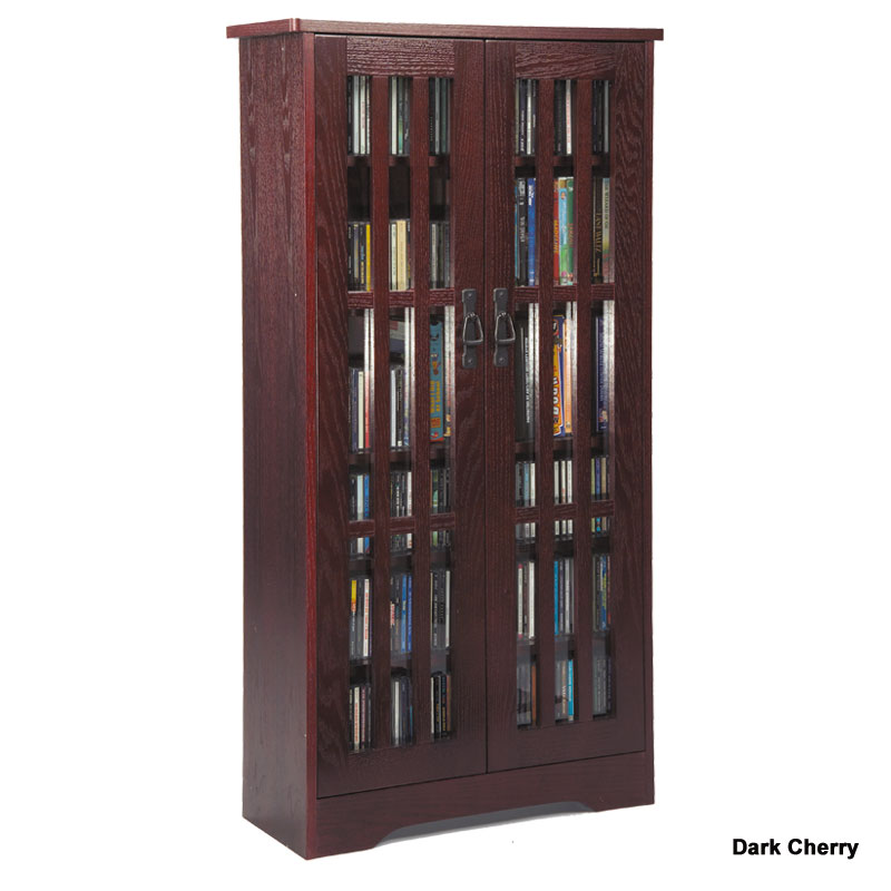 Leslie Dame Cd Storage Cabinet With Glass Doors Oak