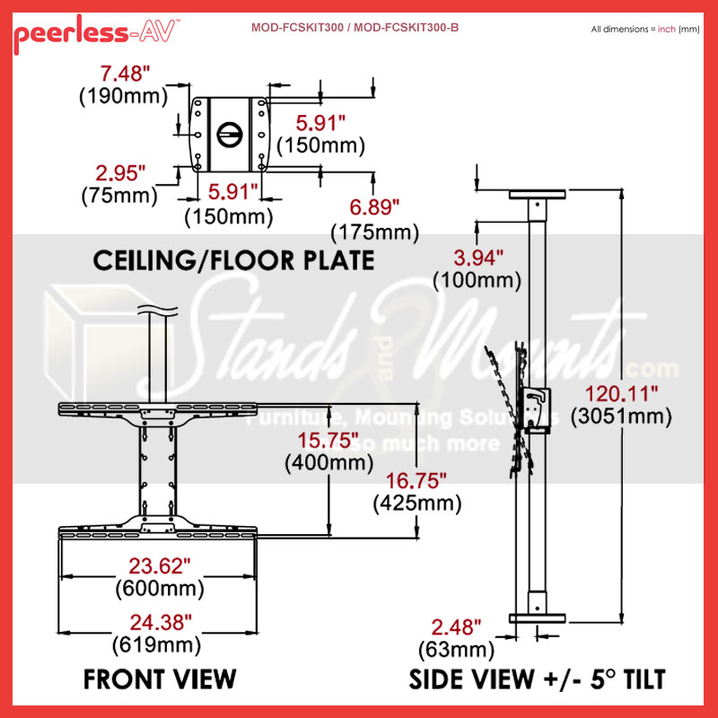 Rless Modular Series Floor To Ceiling Tv Mount Kit Zinc Mod Fcskit300