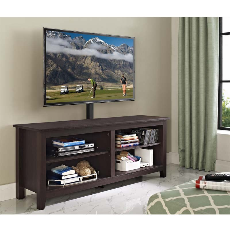 Walker Edison Essential 60 Inch Tv Stand With Mount Espresso W58cspes Mt