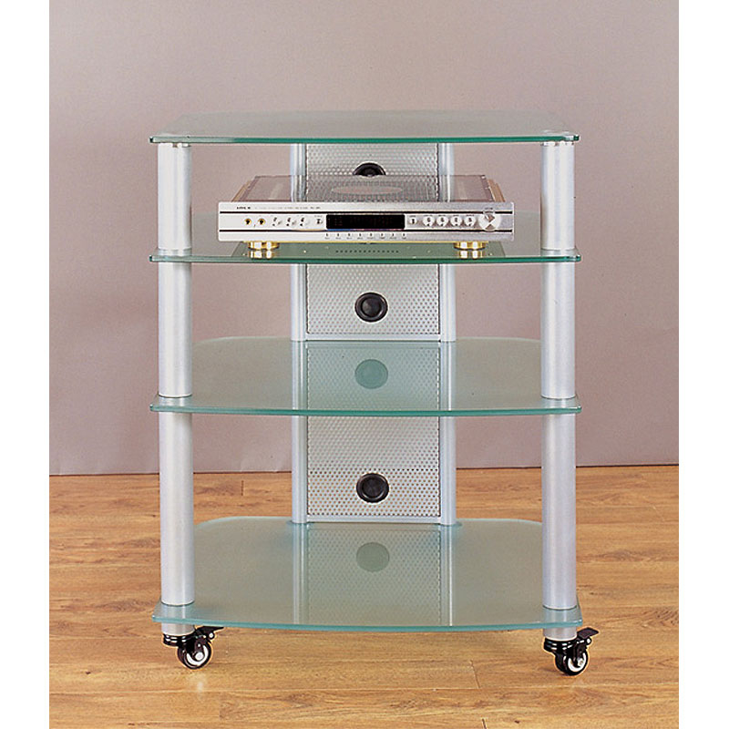 vti 4 shelf mobile audio rack silver with frosted glass ngr404sf. Black Bedroom Furniture Sets. Home Design Ideas