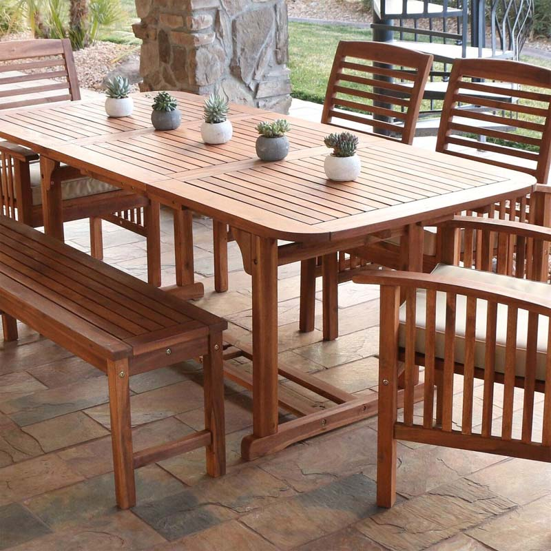 View A Larger Image Of Walker Edison Acacia Wood Butterfly Patio Table  (Brown) OWTEXBR