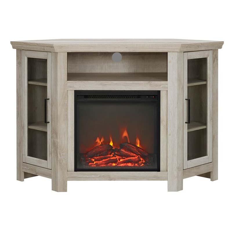 Walker Edison Corner Fireplace TV Stand (White Oak) W48FPCRWO