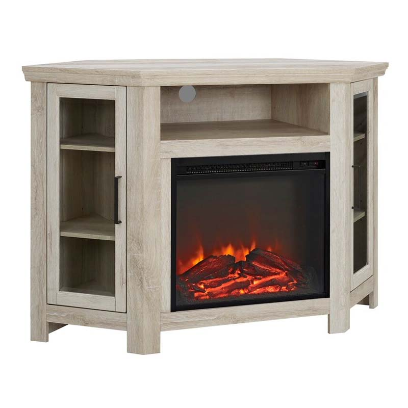 Walker Edison Corner Fireplace Tv Stand White Oak W48fpcrwo