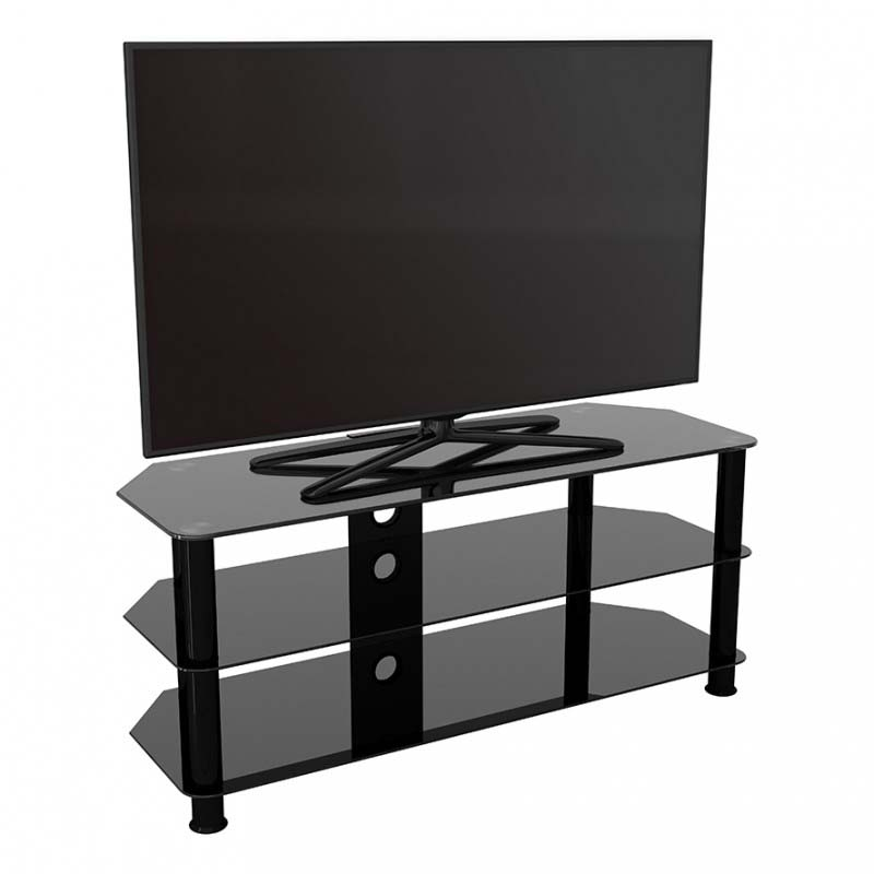reputable site 31098 60815 AVF SDC Series Black Glass 55 inch Corner TV Stand (Black) SDC1140CMBB-A