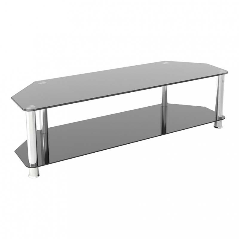 avf sdc series black glass 65 inch corner tv stand chrome sdc1400 a. Black Bedroom Furniture Sets. Home Design Ideas
