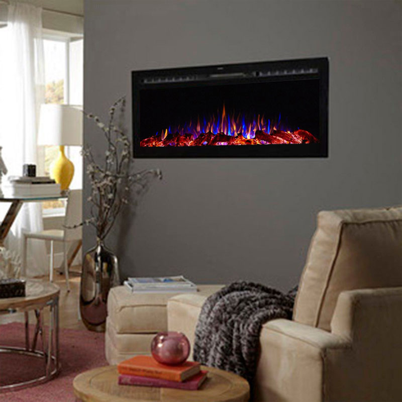 View A Larger Image Of Touchstone Sideline 50 Inch Wall Mounted Recessed Electric Fireplace Black