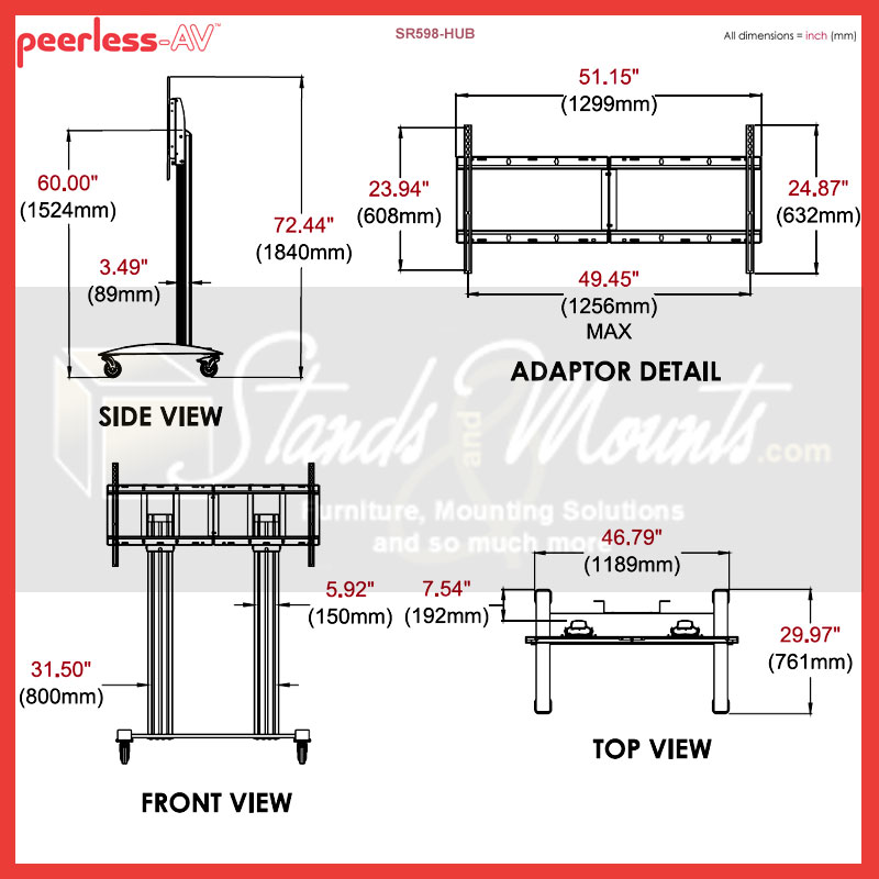 Peerless SR598-HUB SmartMount Cart for Microsoft Surface Hub