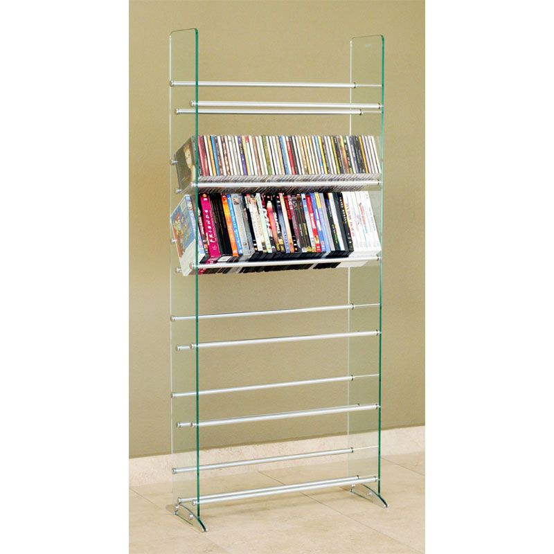 TransDeco Steel And Glass 336 CD DVD Storage Rack (Silver Poles) TD019S