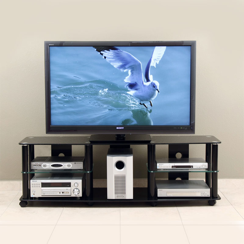 TransDeco Black Glass And Metal TV Stand For Up To 70in Flat Screens TD208B