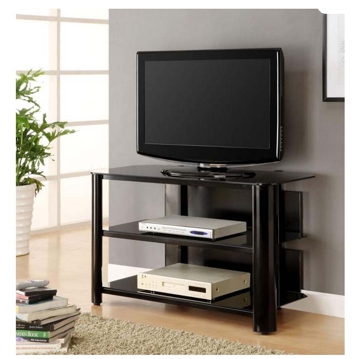 innovex oxford series 46 inch flat screen tv stand black glass tpt42g29. Black Bedroom Furniture Sets. Home Design Ideas