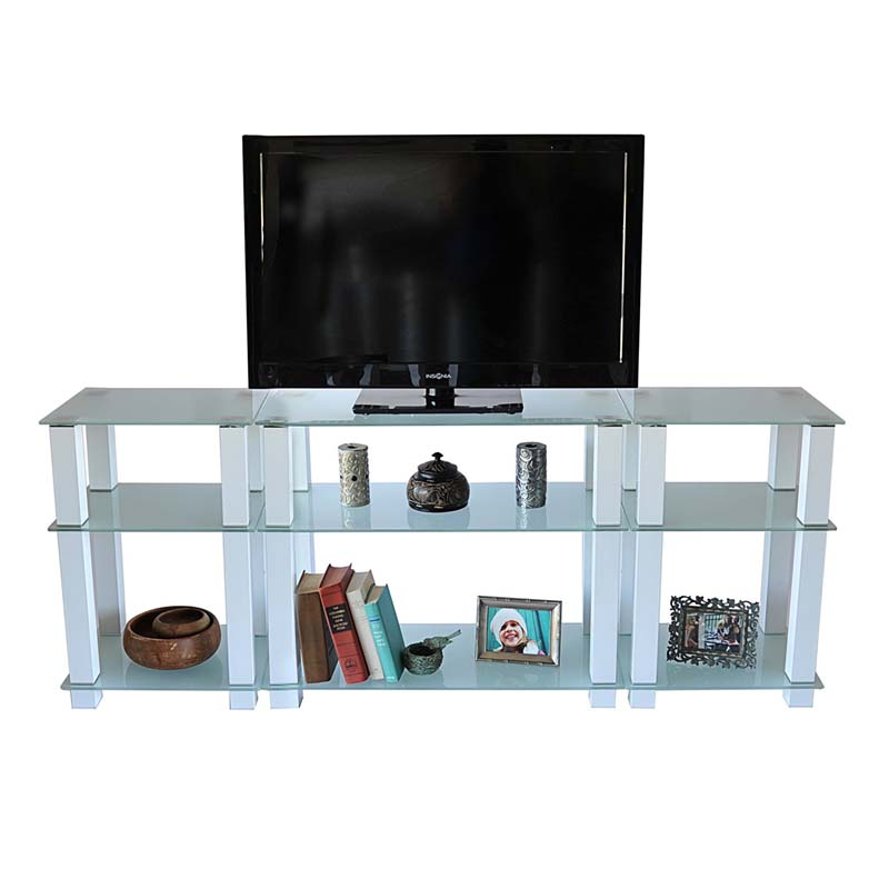 Rta Frosted Glass 75 Inch Tv Stand With Side Storage Shelves White