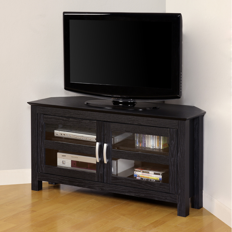 walker edison castillo series 47 inch corner tv console black w44ccrbl. Black Bedroom Furniture Sets. Home Design Ideas