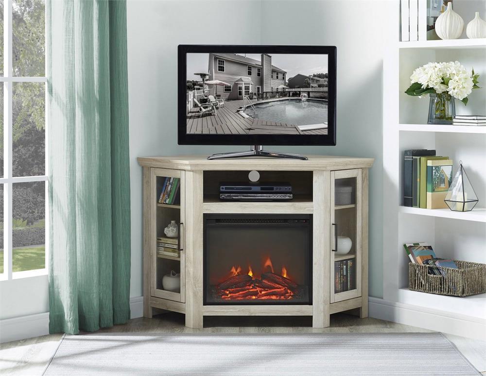 Walker Edison 48 In Wood Corner Fireplace Tv Stand Grey Wash W48fpcrgw