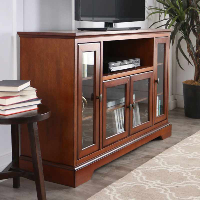 Walker Edison Antique Style Highboy 55 Inch Tv Cabinet