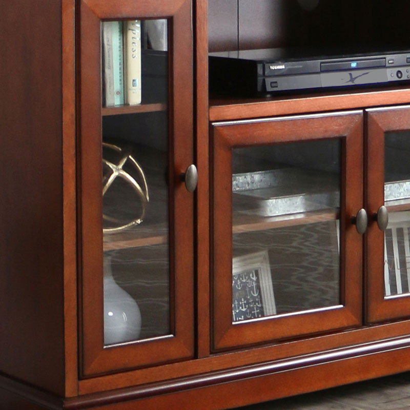 Walker Edison Antique Style Highboy 55 Inch Tv Cabinet Rustic Brown